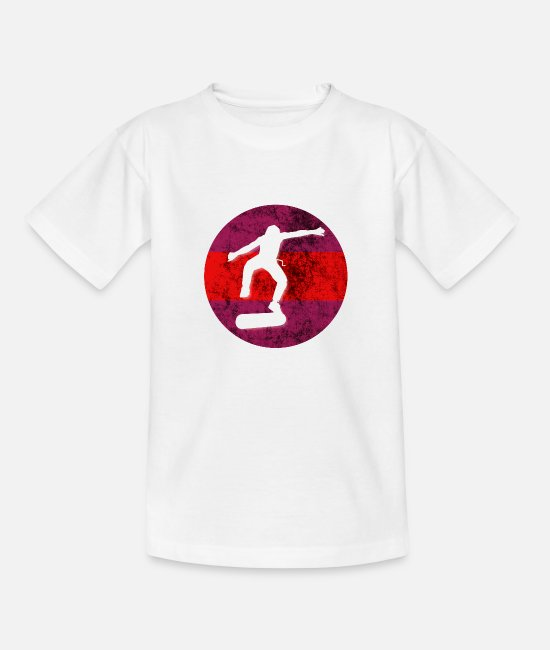 Ollie T-Shirts - Skater Kickflip SKateboarding - Teenage T-Shirt white