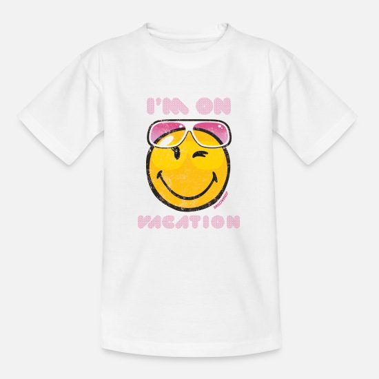 "Sommer T-Shirts - Smiley World ""I'm on vacation"" Teenager T-Shirt - Teenager T-Shirt Weiß"