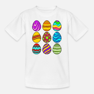 Colorful Easter eggs Easter basket Happy Easter eggs festival - Teenage T-Shirt