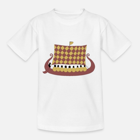 Viking T-shirts - Draakboot in runesteenstijl - Teenager T-shirt wit