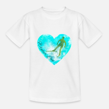 Winter love skier heart gift sport snow - Teenage T-Shirt