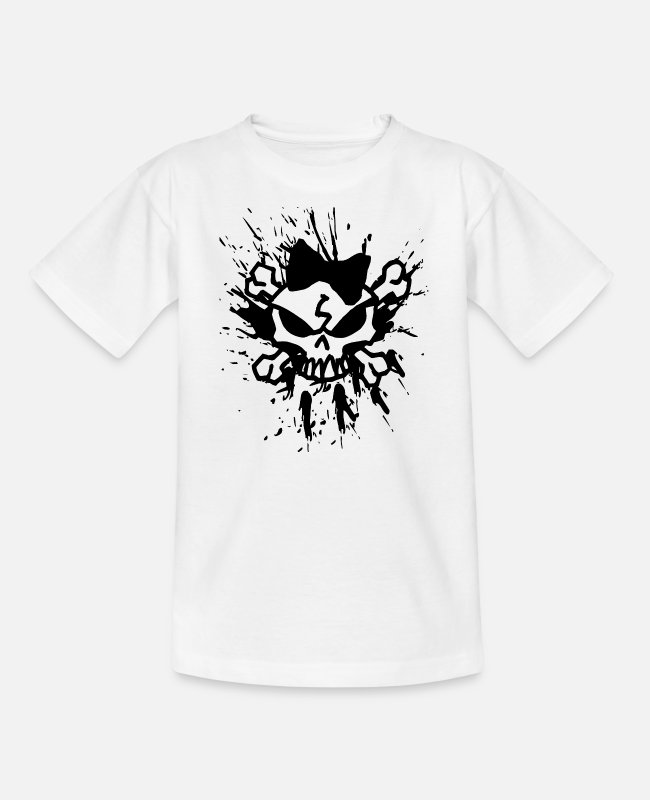 Outlaw T-Shirts - Tattoo Skull & Outlaw Streetwear - Teenager T-Shirt Weiß
