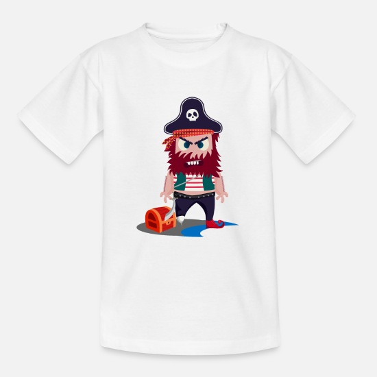 School Boys T-Shirts - Pirate Doodle Art - Teenage T-Shirt white