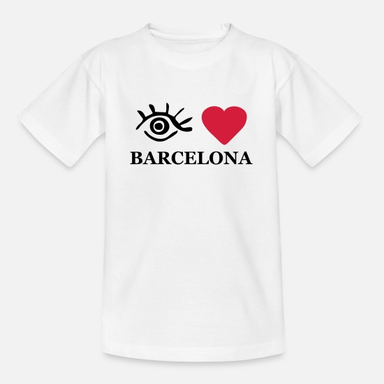 Love T-Shirts - Eye-Love 'Barcelona' Women's Hoodie - Teenage T-Shirt white