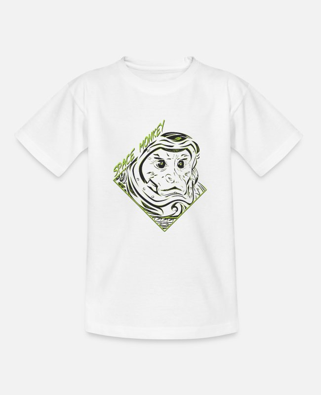 Space T-Shirts - Space Monkey (GREEN) - Teenage T-Shirt white