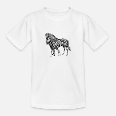 Mare Mare with a foal - Teenage T-Shirt