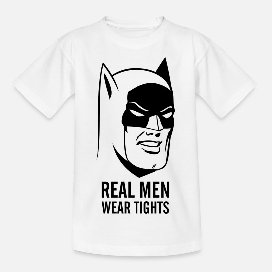 "Comic T-Shirts - Batman ""Real Man"" Teenage T-Shirt - Teenager T-Shirt Weiß"