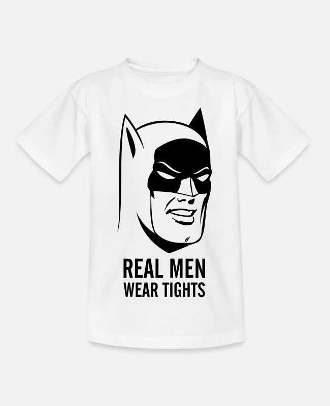 "Superheroes T-shirts - Batman ""Real Men Wear Tights"" - T-shirt teenager hvid"