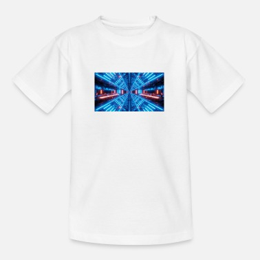 blue science fiction tunnel with reflections - Teenage T-Shirt