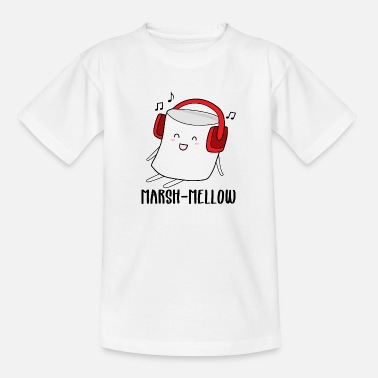 Marshmallow Cute Marshmallow with Headphones - Marshmellow - T-shirt tonåring