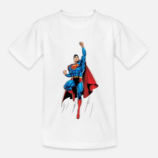 Superman T-paidat - Superman Up and Away Teenager Longsleeve - Teinien t-paita valkoinen
