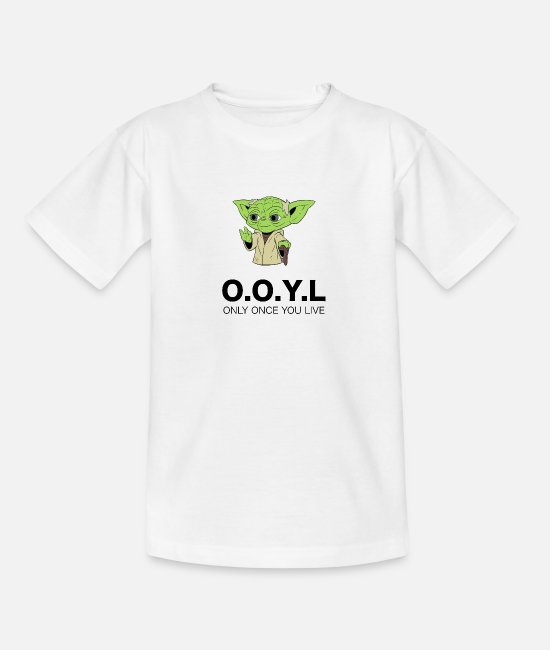 English T-Shirts - Yoda pun black - Teenage T-Shirt white