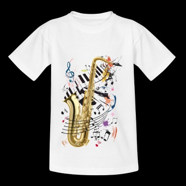 Sax, piano and notes - Teenage T-shirt