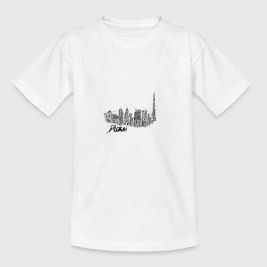 Dubai cityscape skyline sketch Burj Khalifa - Teenage T-shirt