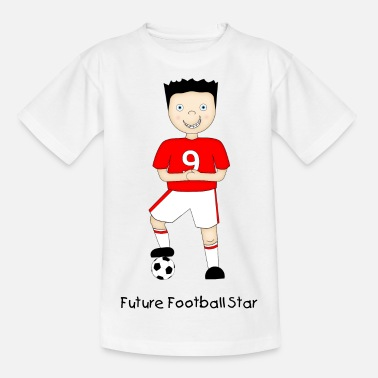Cartoon Strip Cartoon Football Plater in Red and White Strip - Teenage T-Shirt