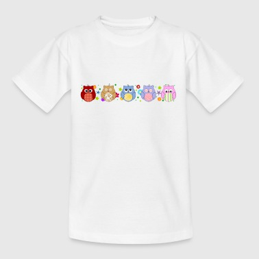 Cute Owls and flowers - Teenage T-shirt