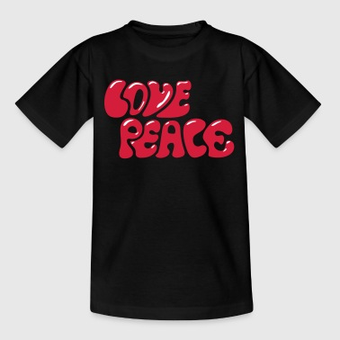 Love Peace seventies 70s retro style flower power - Teenager T-shirt