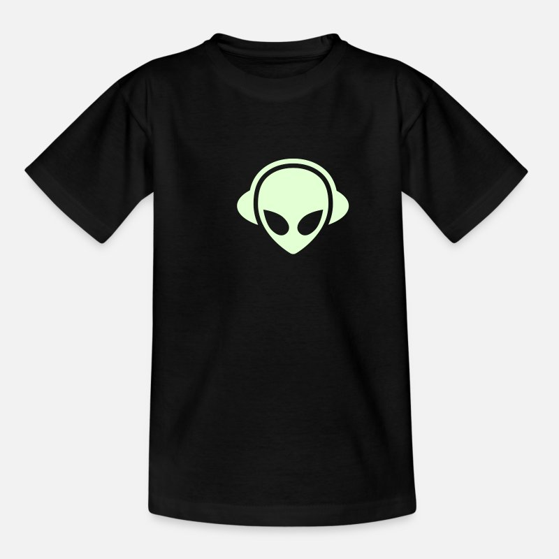 Cool T-Shirts - Alien headphones Glow in the dark - Teenage T-Shirt black
