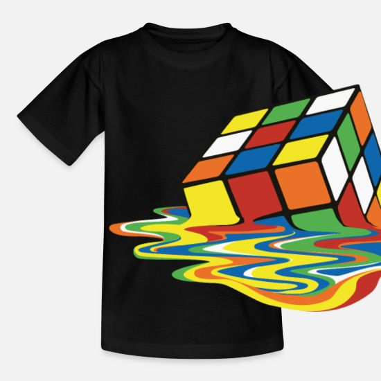 Coole T-Shirts - Melting Rubiks Cube - Teenager T-Shirt Schwarz