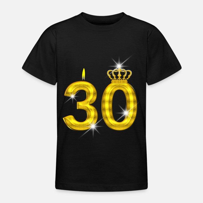 30 geburtstag krone kerze gold teenager t shirt. Black Bedroom Furniture Sets. Home Design Ideas