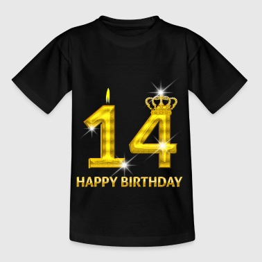 14 - Happy Birthday - Geburtstag - Zahl Gold - Teenager T-Shirt