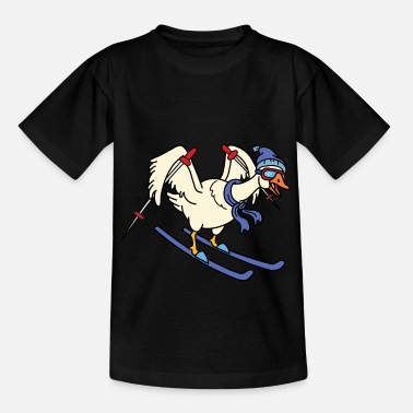 Funny Goose Ski Holiday T-Shirt Gift Funny Skiing Driving - Teenage T-Shirt