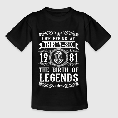 1981 - 36 years - Legends - 2017 - Teenager T-shirt