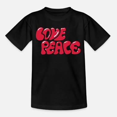 Peacetegn Love Peace  70'erne flower power woodstock - Teenager-T-shirt
