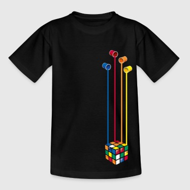 Rubik's Cube Colourful Paint Buckets - Teenage T-Shirt