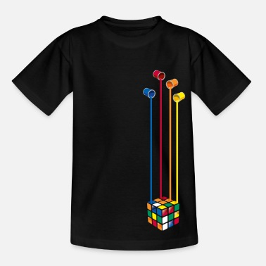 Rubiks Rubik's Cube Colourful Paint Buckets - Teenager T-shirt