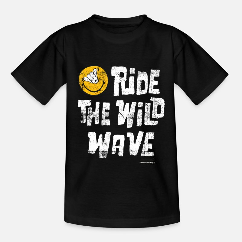 Smileys T-paidat - SmileyWorld 'Ride the wild wave' teenager t-shirt - Teinien t-paita musta