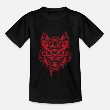 WOLF Mandala Rot - Teenager T-Shirt