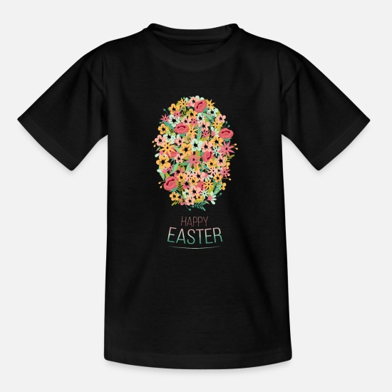 Happy Christmas T-Shirts - Happy Easter Floral - Teenager T-Shirt Schwarz