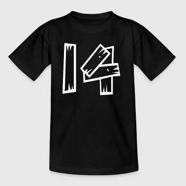Zahl 14 Vierzehn fourteen Holzoptik HATRIK DESIGN - Teenager T-Shirt