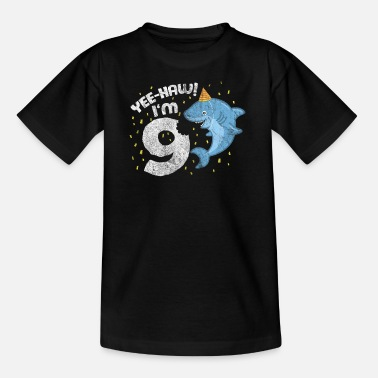 Nine Kids 9th Birthday Sweet Shark Kid Juhuu! I am nine. - Teenage T-Shirt