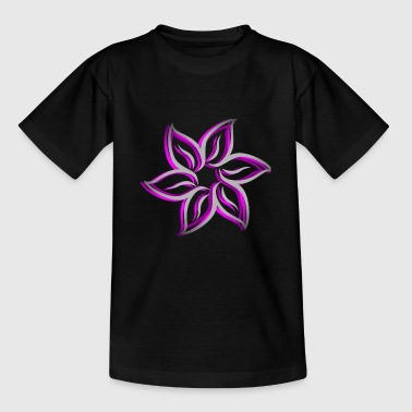 floral, flower, gray / purple - Teenage T-Shirt