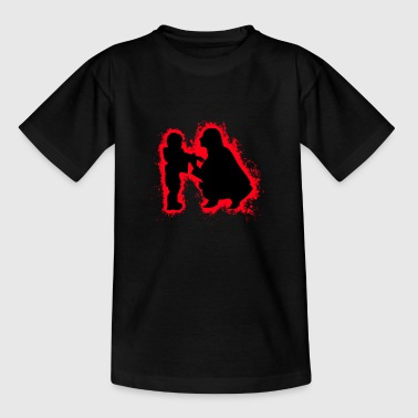 Silhouette woman mother child red and black outline - Teenage T-Shirt