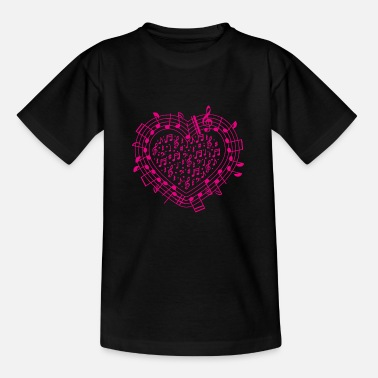 Flute NOTES HEART music gift musical symbols - Teenage T-Shirt