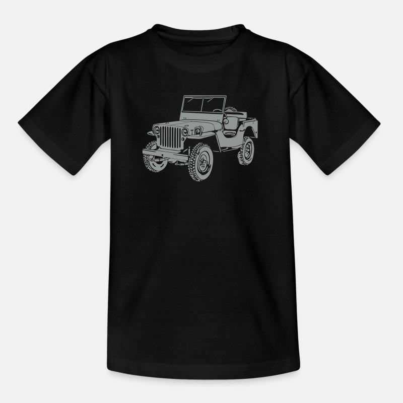 Jeep T-Shirts - Jeep Willys Overland Offroad 4x4 T-Shirt - Teenage T-Shirt black