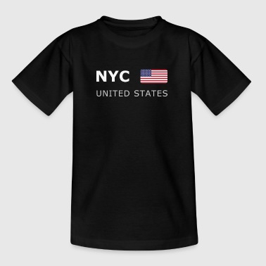 NYC UNITED STATES white-lettered 400 dpi - T-shirt Ado