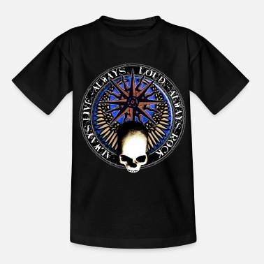 Skull Metal Hand rock_and_roll_and_skull_and_pentagram_w - T-shirt Ado