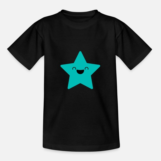 Ster T-shirts - SWEET STAR - Laughing Star in cyaan - Teenager T-shirt zwart
