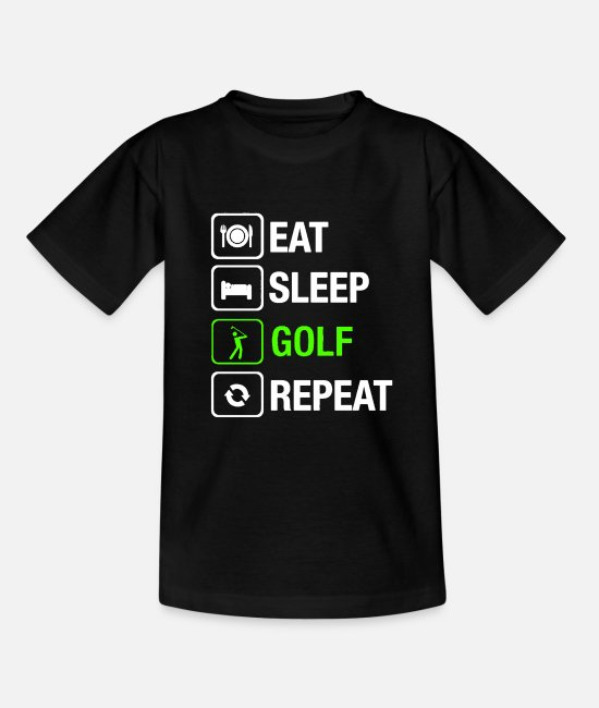 Christmas T-Shirts - Eat Sleep Golf Repeat - Teenage T-Shirt black