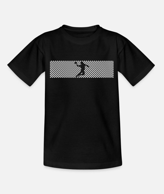Training T-Shirts - Handball check pattern in white design - Teenage T-Shirt black