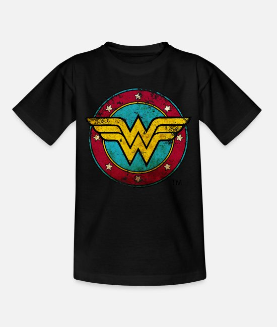 Meisjes T-shirts - Wonder Woman Logo Distressed teenager T-shirt - Teenager T-shirt zwart