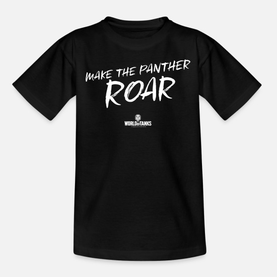 Computer Game T-Shirts - World of Tanks Make The Panther Roar - Teenage T-Shirt black