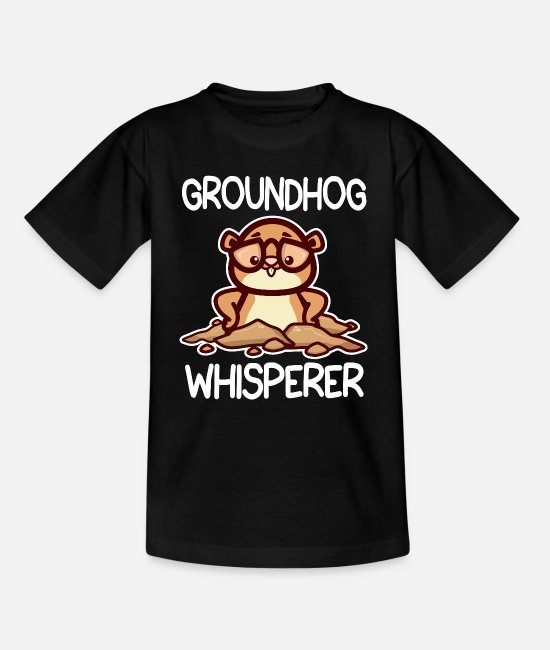 Cute T-Shirts - Groundhog Whisperer design Groundhog Day Gift - Teenage T-Shirt black