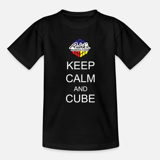 Cube T-Shirts - Rubik's Keep Calm - Teenage T-Shirt black