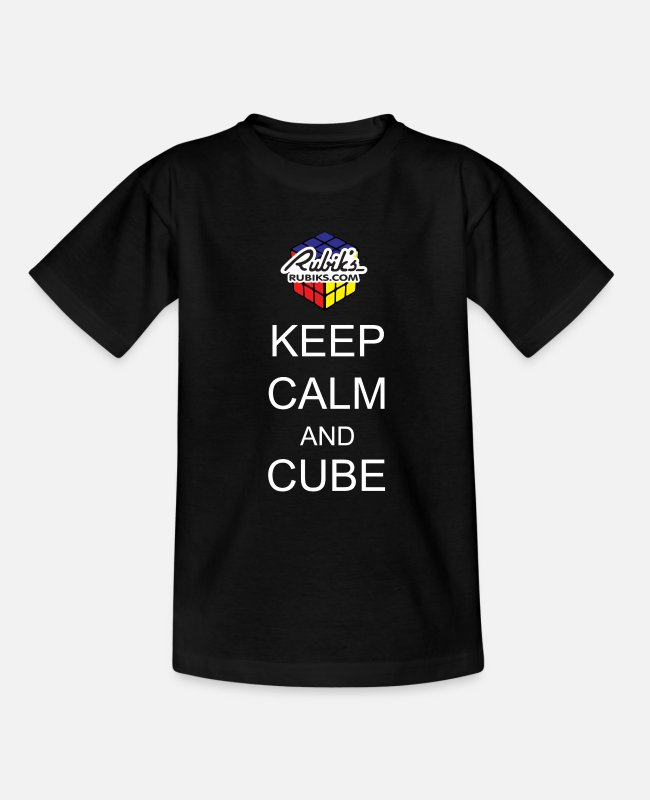 Calm T-Shirts - Rubik's Keep Calm - Teenage T-Shirt black