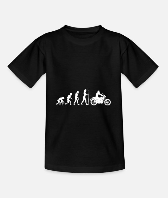 Darwin T-Shirts - Evolution monkey human motorcycle biker gift idea - Teenage T-Shirt black